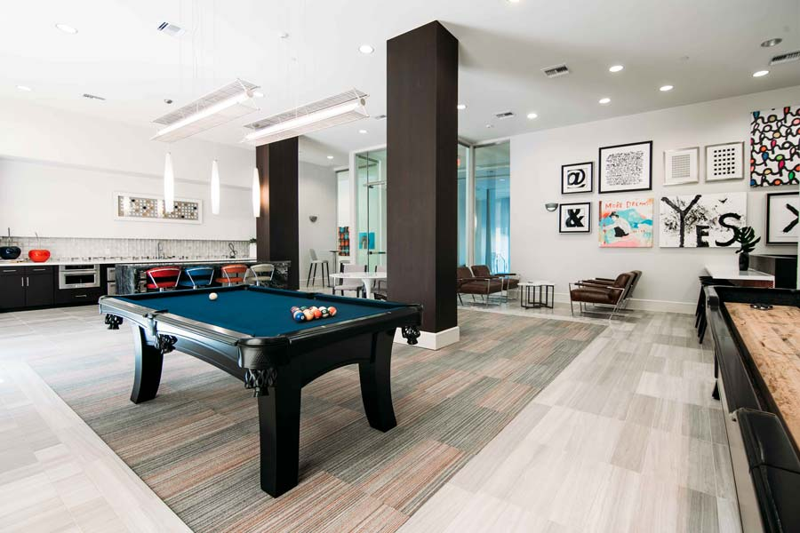 Game Room with Billiards Table at Rivera Apartments in San Antonio, Texas