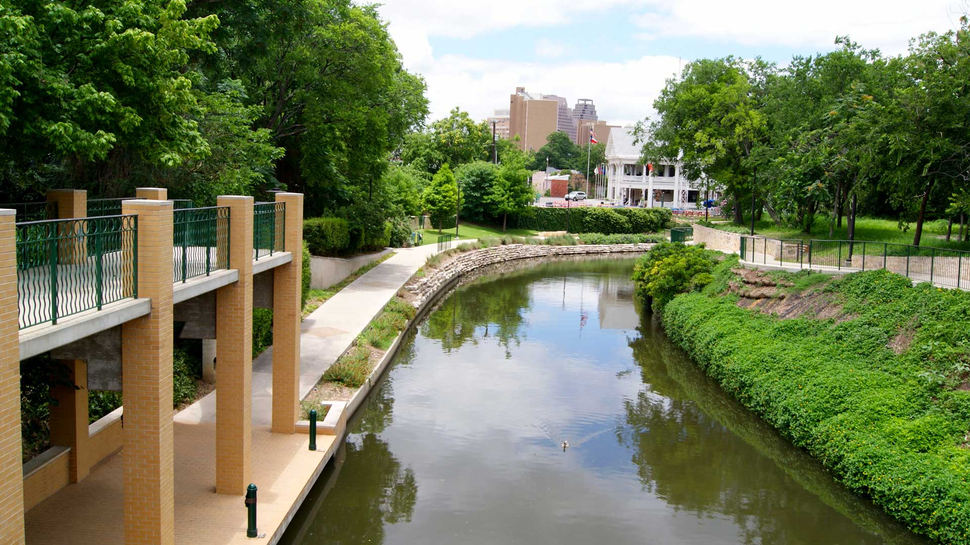 Beautiful, Natural Waterways with Walking Paths at Rivera Apartments in San Antonio, Texas