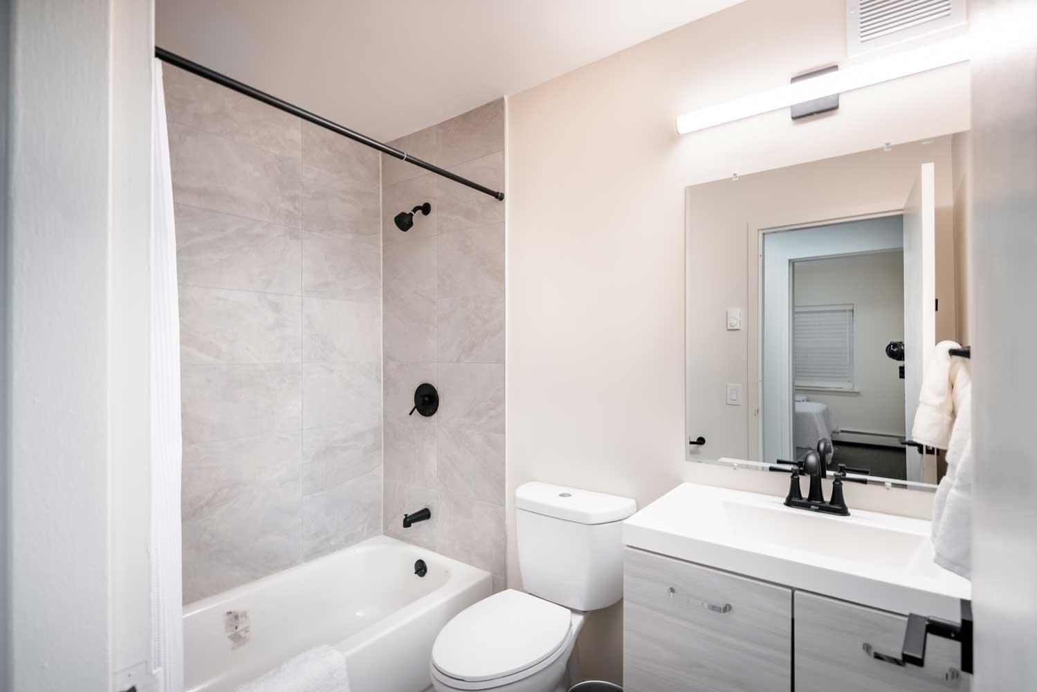 Shower and Tub at River Edge at Nyack Apartments in Nyack, NY