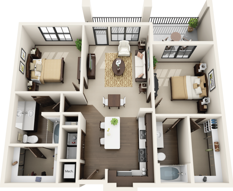 Riverhouse Apartments - Floorplan - B1