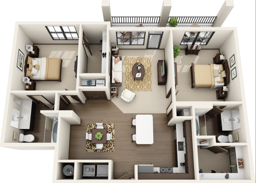 Riverhouse Apartments - Floorplan - B2
