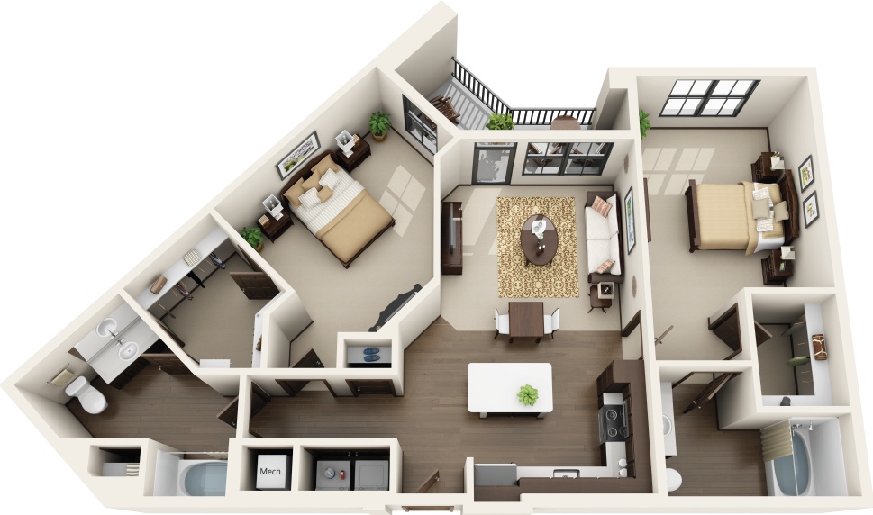 Riverhouse Apartments - Floorplan - B3