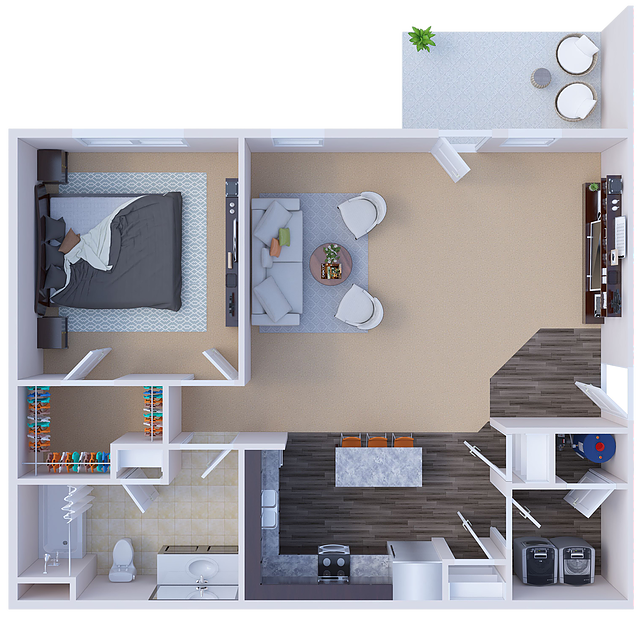 Berkley 1-Bedroom Floor Plan at River Ridge Apartments in Loveland, Ohio