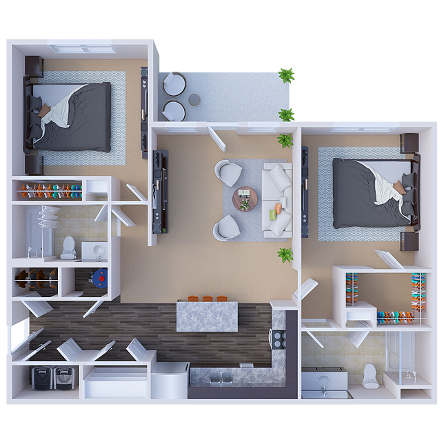 Chandler 2-Bedroom Floor Plan at River Ridge Apartments in Loveland, Ohio
