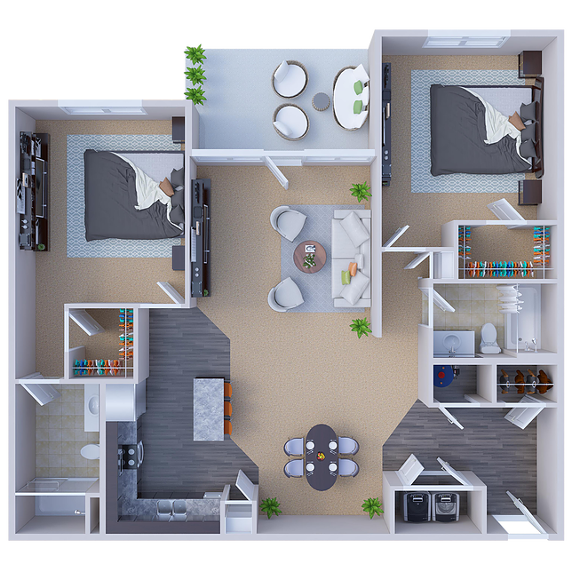 Lawrence 2-Bedroom Floor Plan  at River Ridge Apartments in Loveland, Ohio