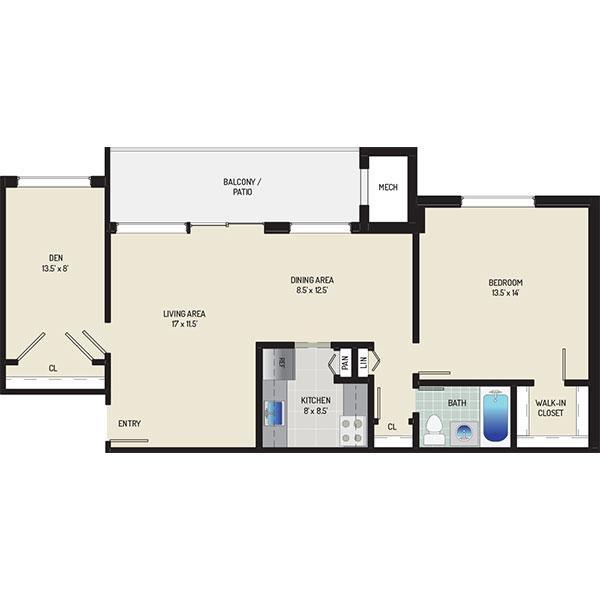 Riverside Plaza Apartments - Floorplan - 1 Bedroom + 1 Bath