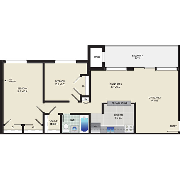 Riverside Plaza Apartments - Floorplan - 2 Bedrooms + 1 Bath