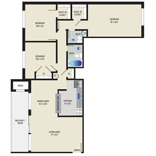 Informative Picture of 3 Bedrooms + 1.5 Baths
