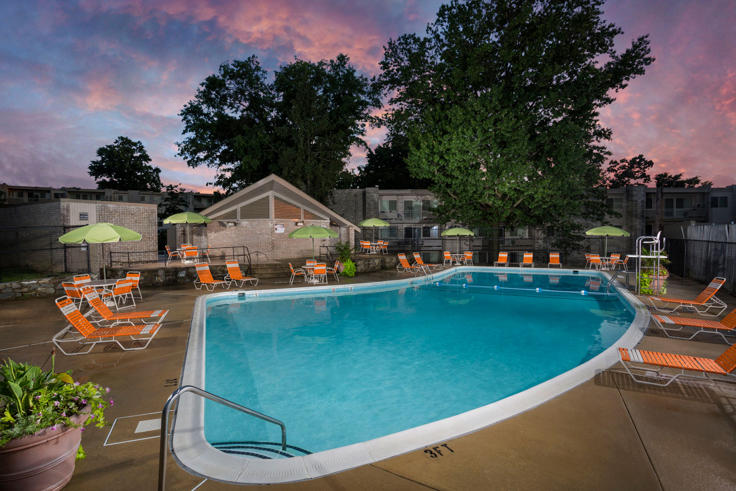 Refreshing swimming pool at Riverside Plaza Apartments in Oxon Hill, MD
