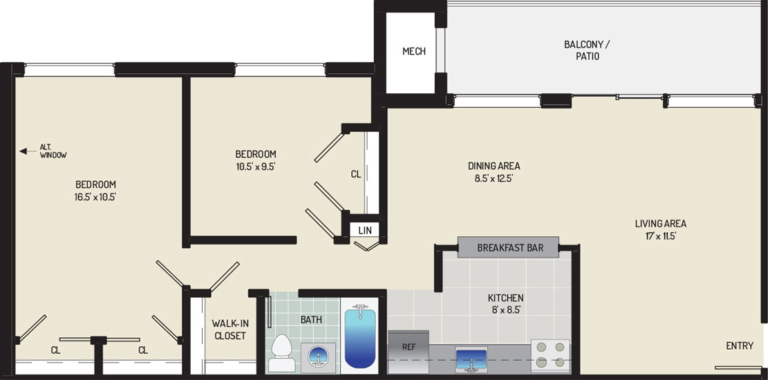 Riverside Plaza Apartments - Apartment 256255-302-D2