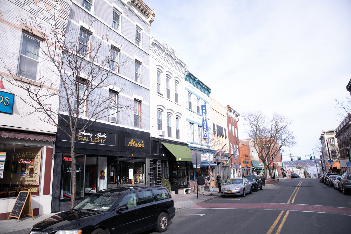 Restaurant-Lined Streets at Riverview at Nyack Apartments in Nyack, New York