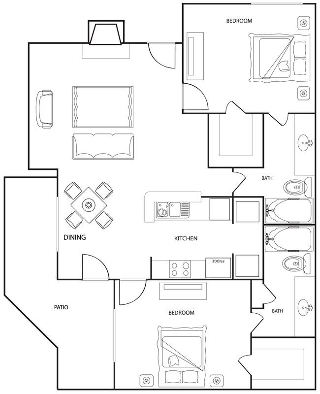 Riverwalk Apartments - Floorplan - The Oak