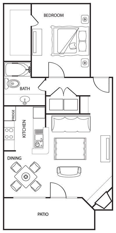 Riverwalk Apartments - Floorplan - The Pine