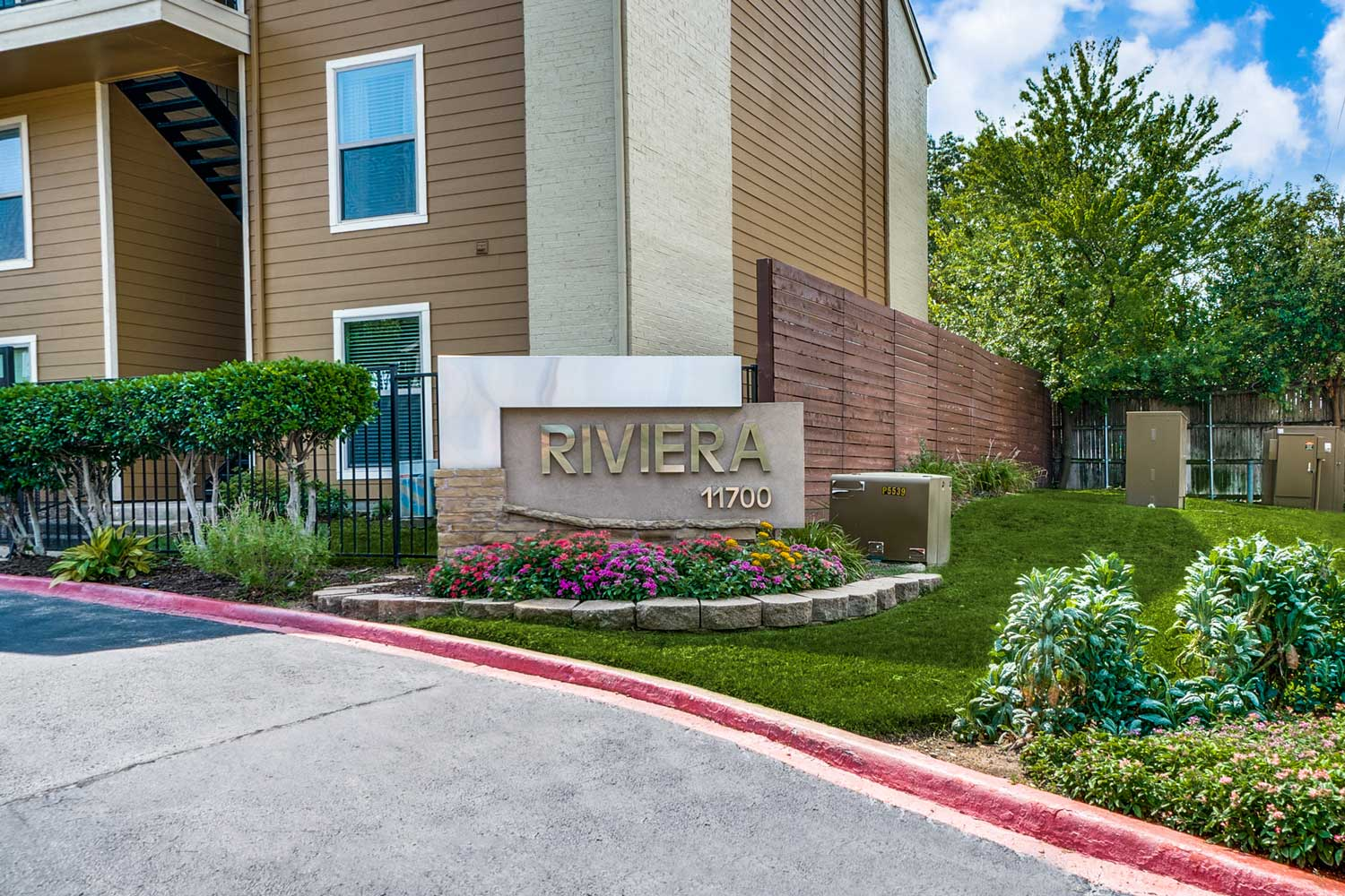 Welcome Sign at Riviera Apartments in Dallas, Texas
