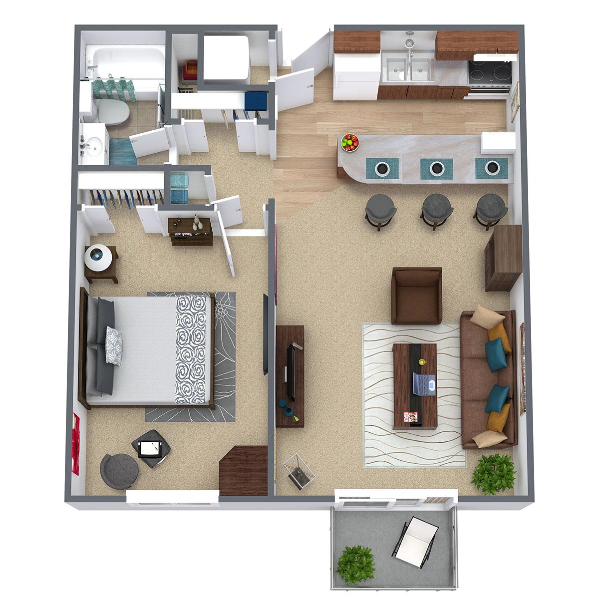 Pinehill Park - Floorplan - 1 Bedroom - Breakfast Bar / 1 Bath