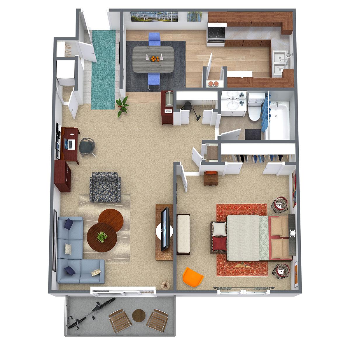 Floorplan - 1 Bed/1Bath - Updated image