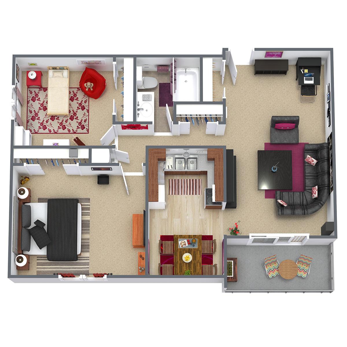 Floorplan - 2 Bed/1 Bath - Updated image