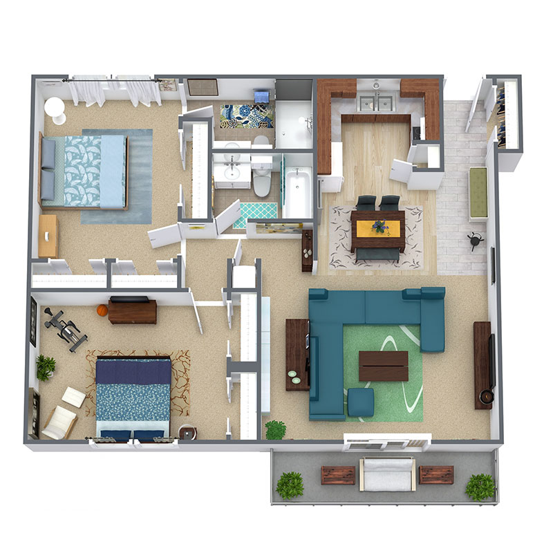 Floorplan - 2 Bedroom / 2 Bath image