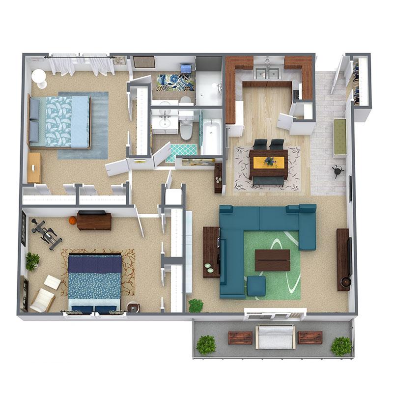 Informative Picture of 2 Bedroom / 2 Bath