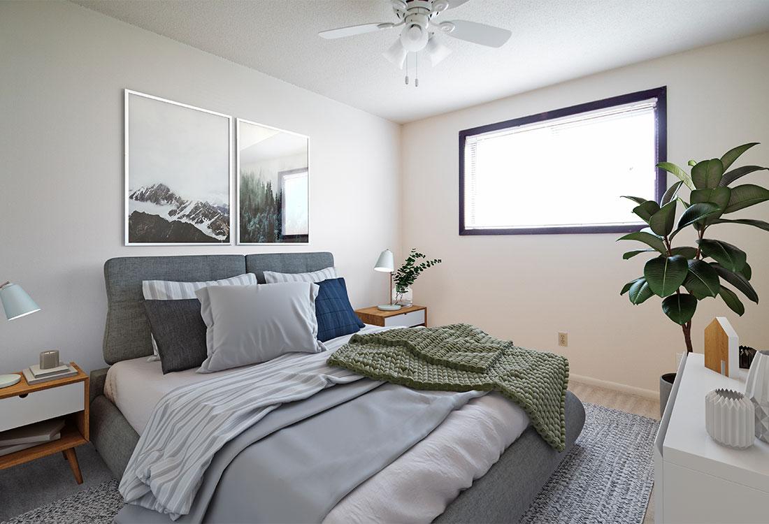 Spacious Bedroom at Pinehill Park Apartments in Bellevue, NE