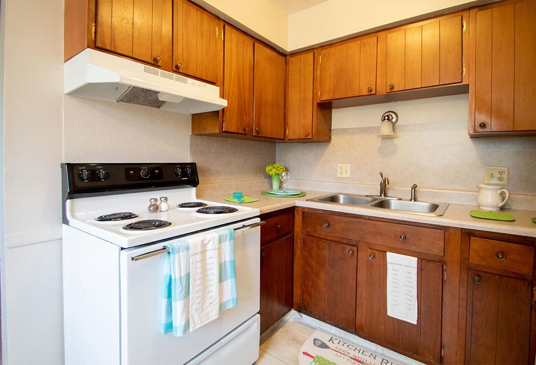 Kitchen at Pinehill Park Apartments in Bellevue, NE