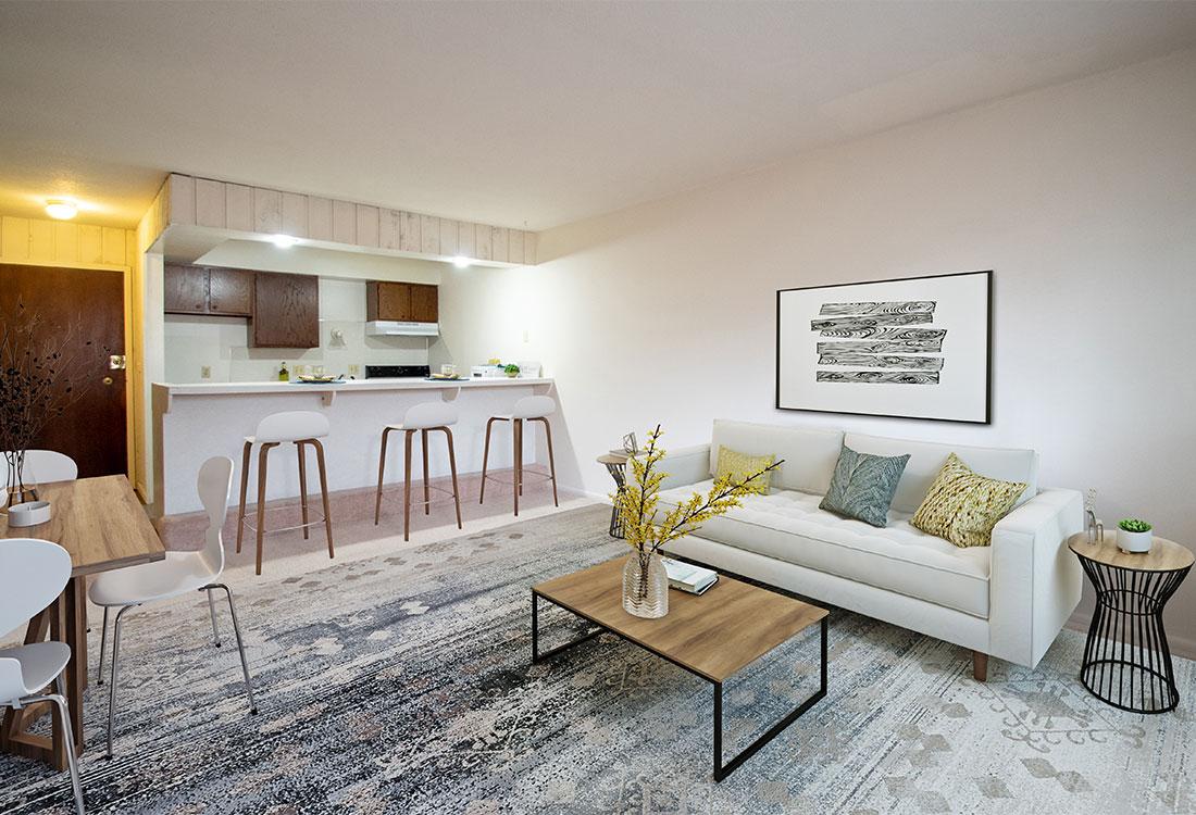Spacious Living Room at Royal Oaks Apartments in Bellevue, NE