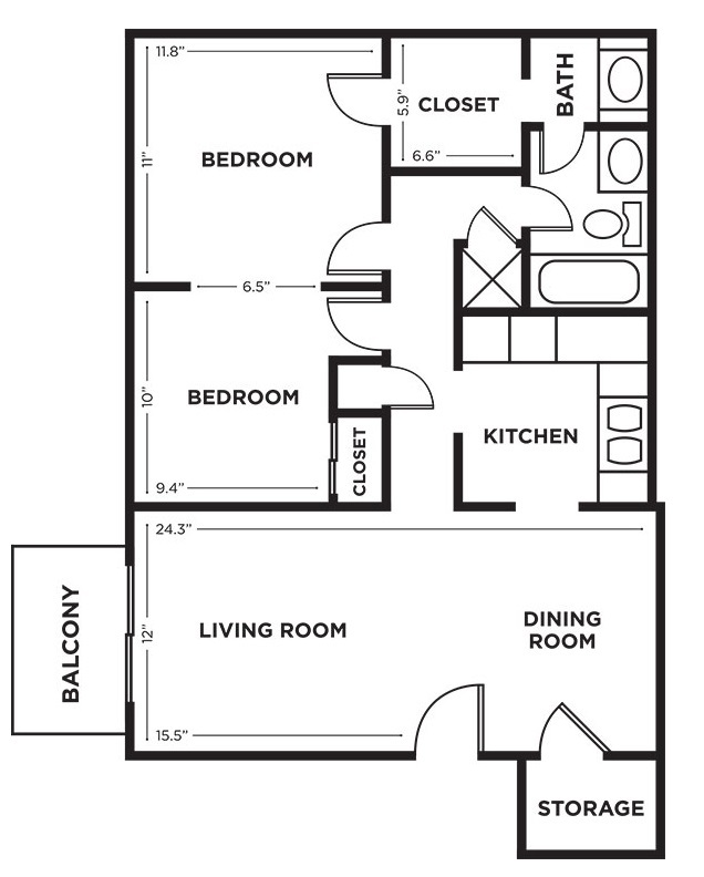 Royalwood Apartments - Floorplan - 1BR with Den