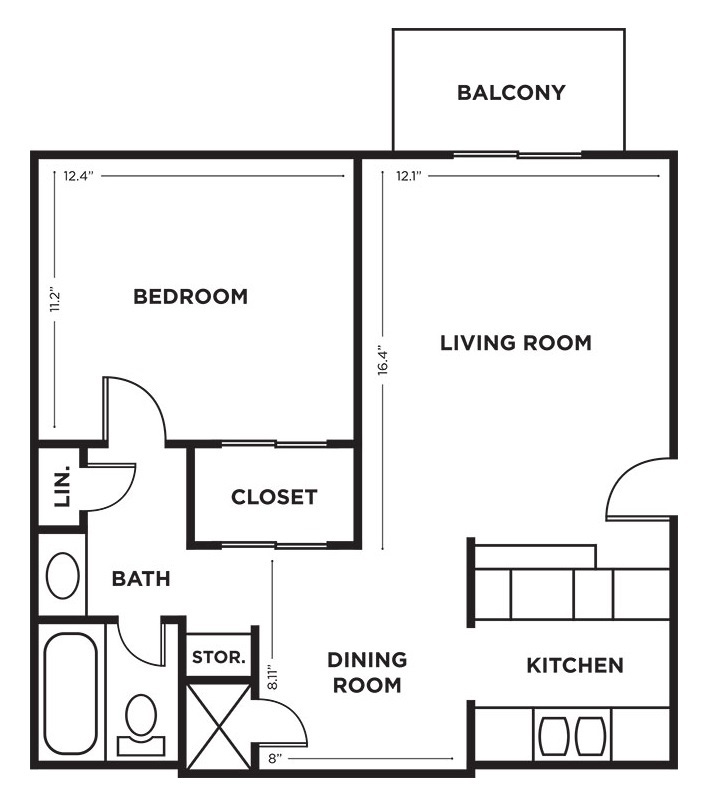 Royalwood Apartments - Floorplan - 1BR