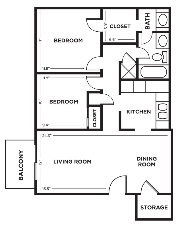 Royalwood Apartments - Floorplan - 2BR