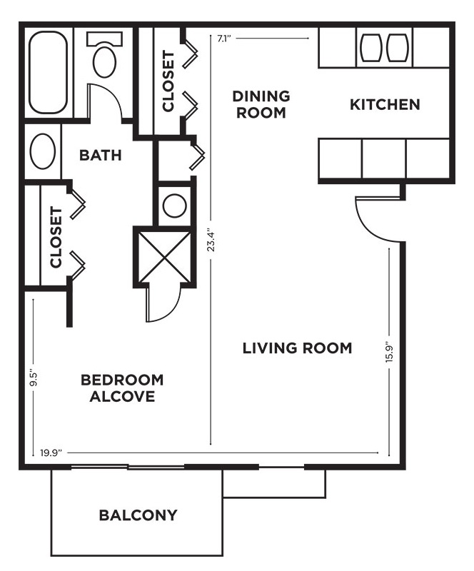 Royalwood Apartments - Floorplan - Studio