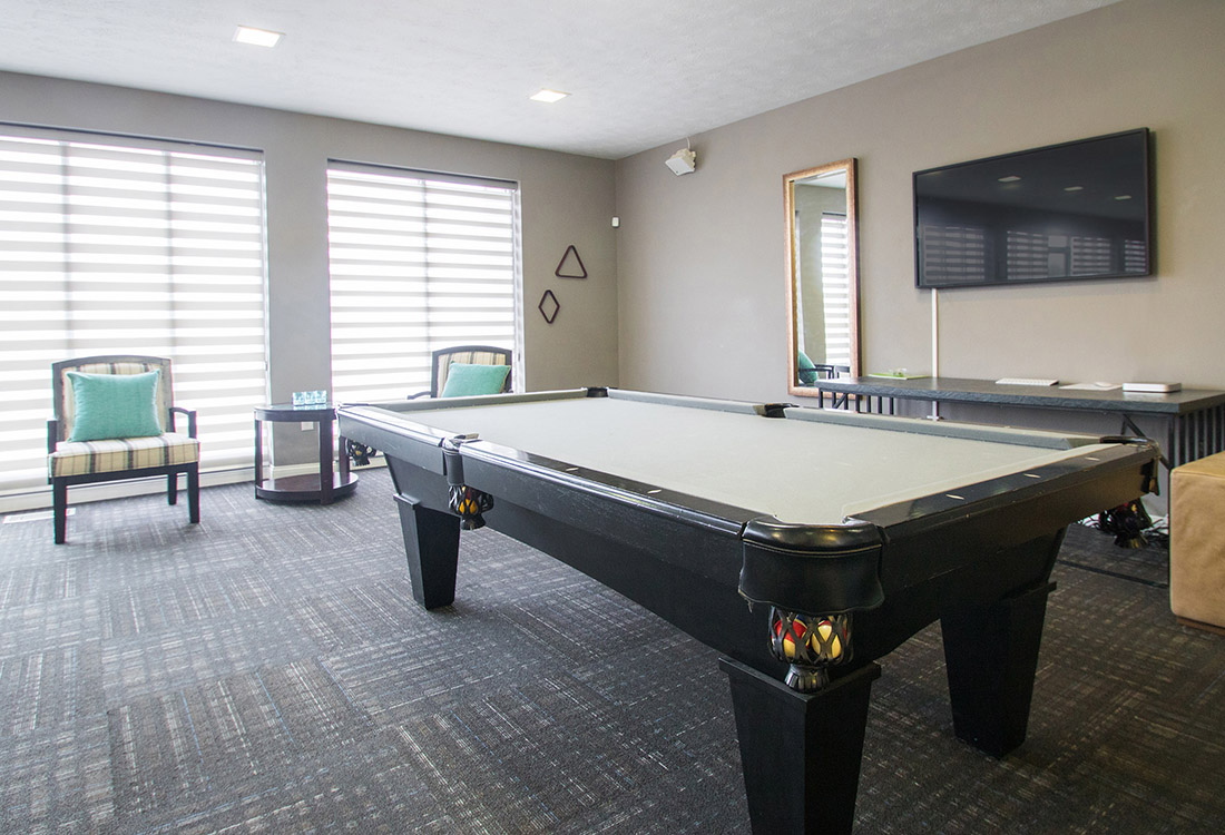 Clubhouse with Billiards at Royalwood Apartments in West Omaha, Nebraska