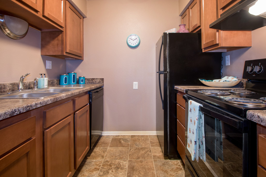 Black Appliances at Royalwood Apartments in West Omaha, Nebraska