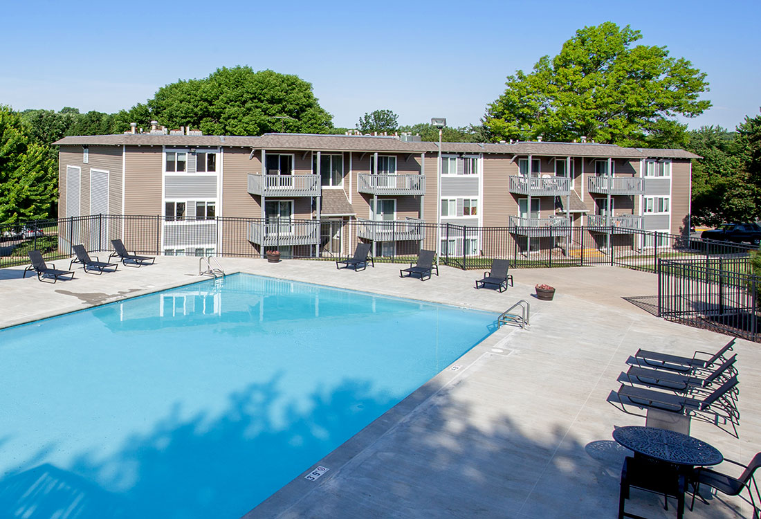 Sparkling Swimming Pool at Royalwood Apartments in West Omaha, Nebraska