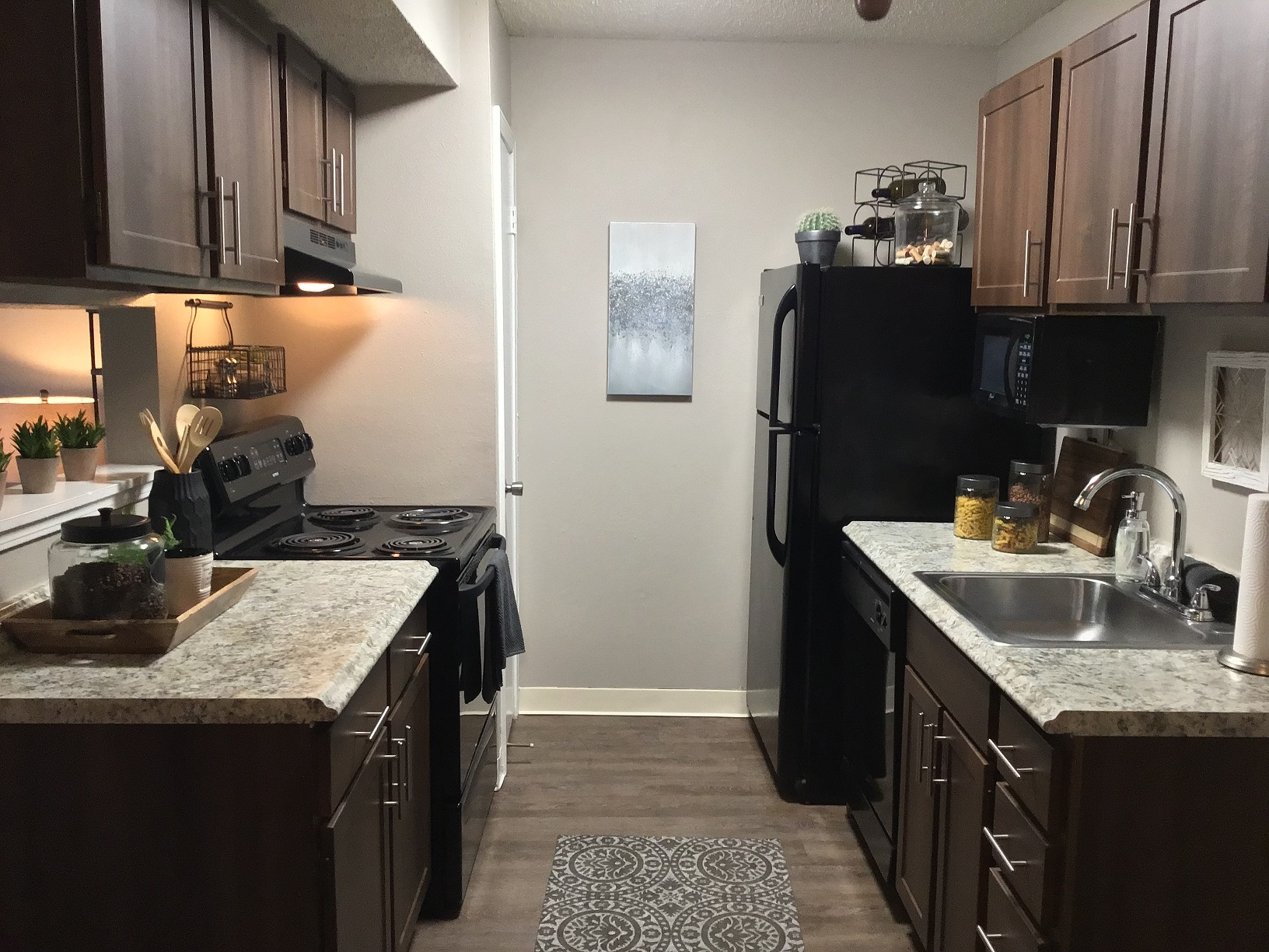 Kitchen at Rustic Woods Apartments in Tulsa, Oklahoma