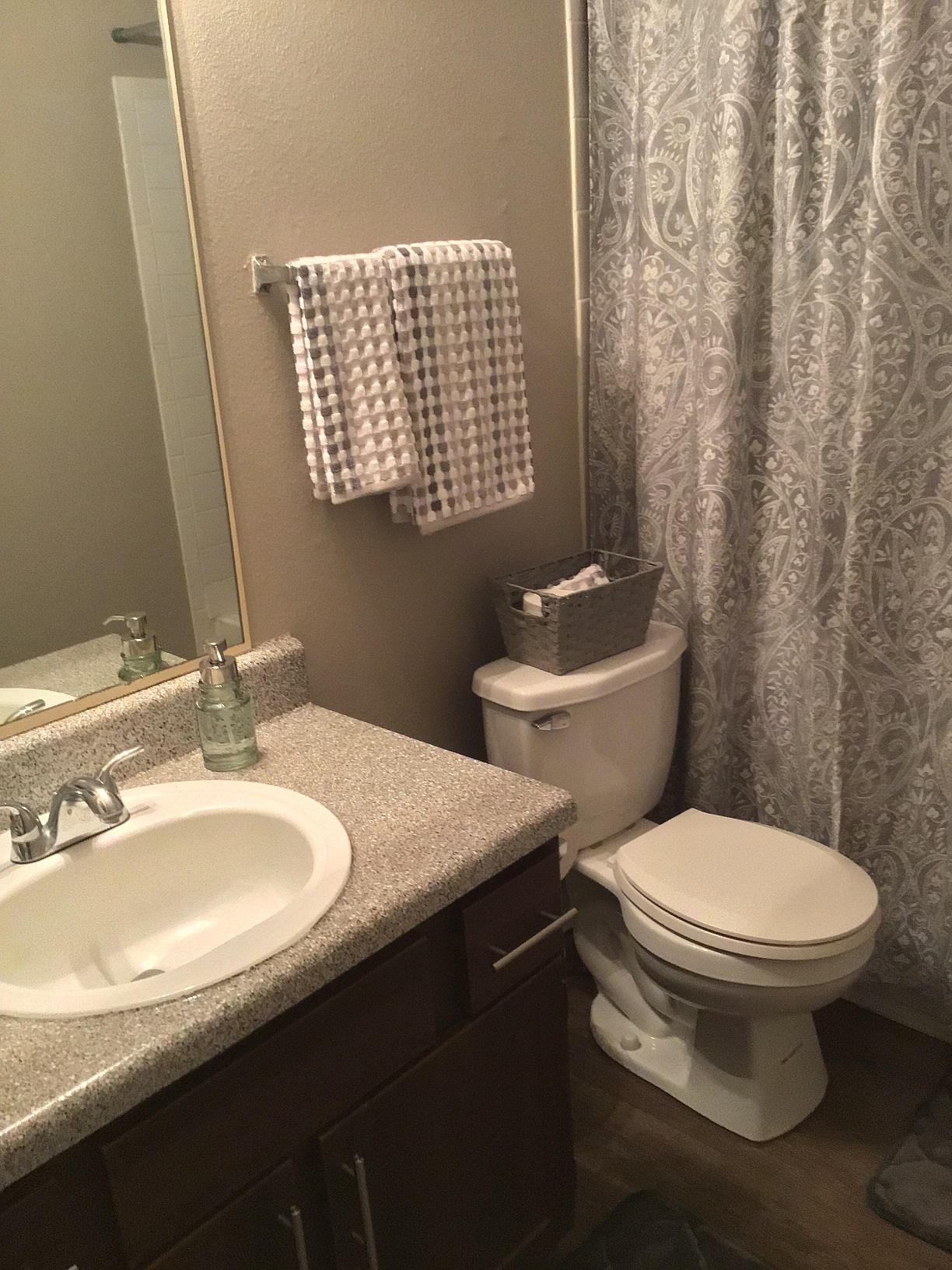 Bathroom at Rustic Woods Apartments in Tulsa, Oklahoma