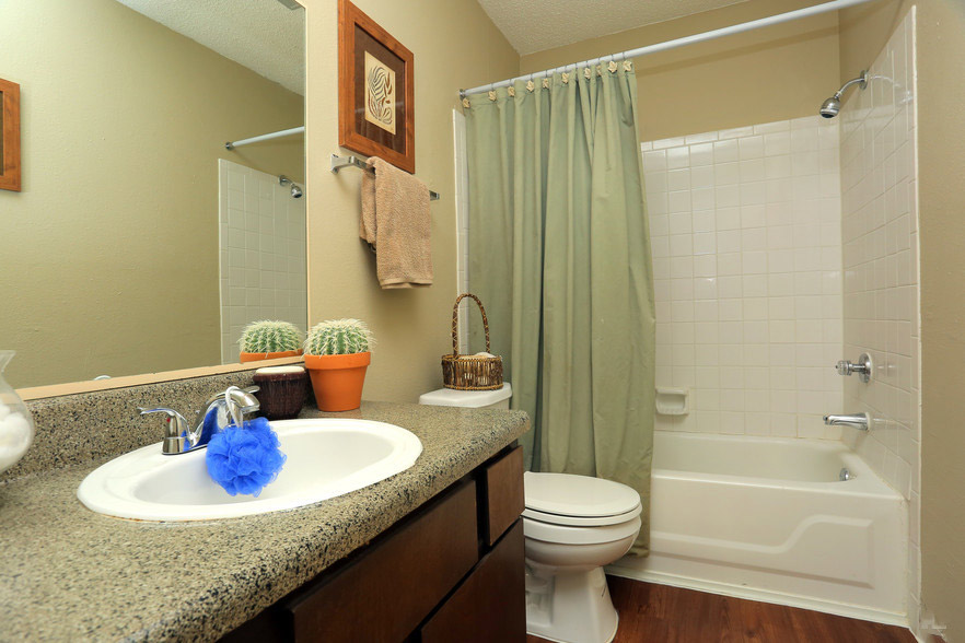 Spacious Bathroom Vanities at Rustic Woods Apartments in Tulsa, Oklahoma
