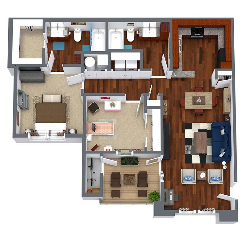 Floorplan - 2 Bedroom -  Affordable image