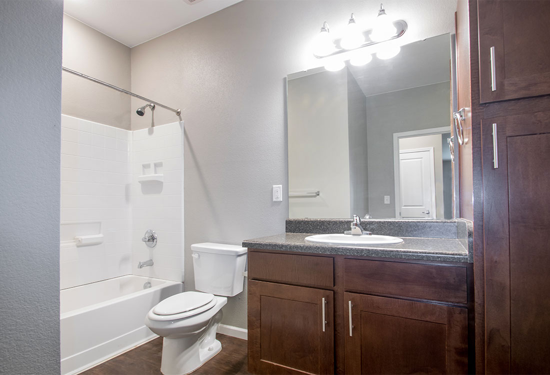 Bathrooms with Vanities at Reserves at Saddleback Ranch Apartments in Wolfforth, Texas