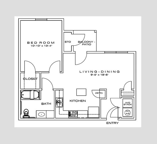 Floorplan - 1Bedroom image