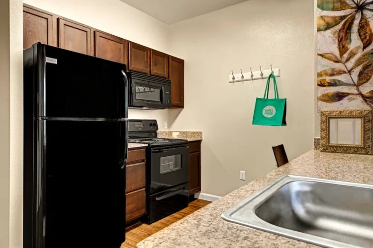 Black Kitchen Appliances at The Savannah at Gateway Apartments in Plano, Texas