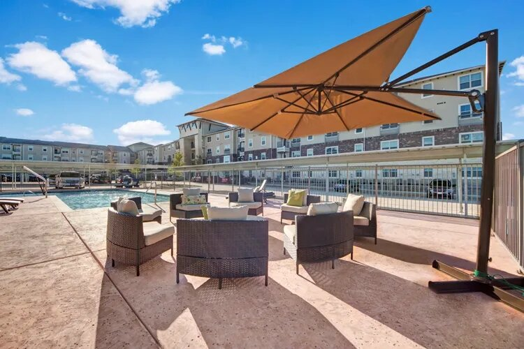 Shaded Lounge Area at The Savannah at Gateway Apartments in Plano, Texas