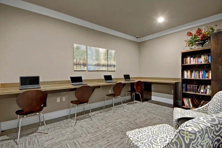 Computer Room at The Savannah at Gateway Apartments in Plano, Texas