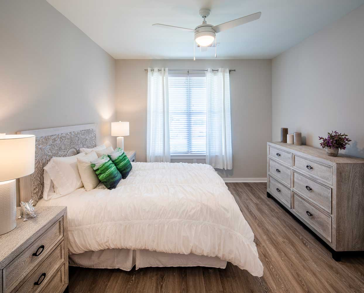 Bedroom with Ceiling Fan at Sawgrass Point in Gonzales, Louisiana