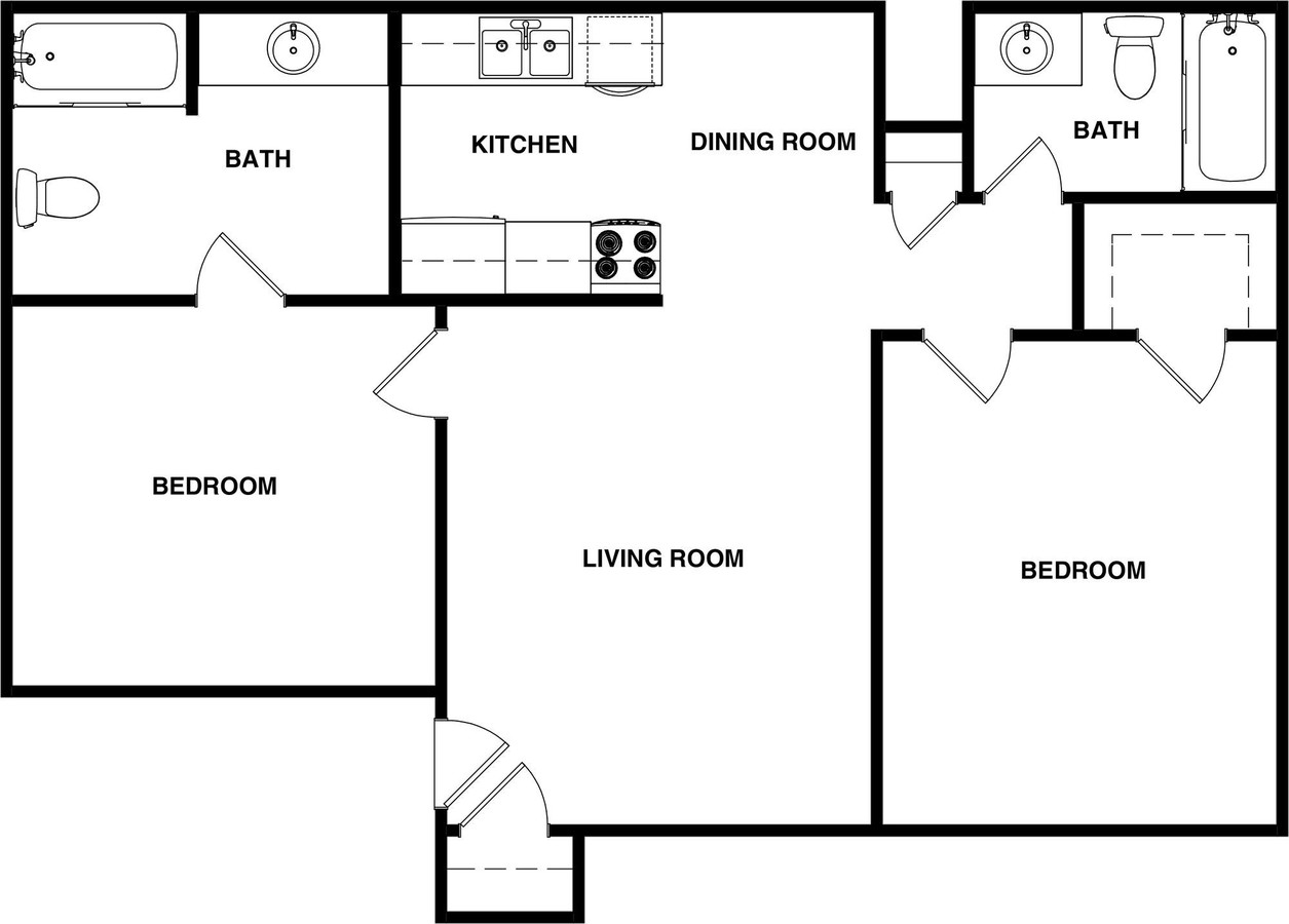Floorplan - 2 BEDROOM / 2 BATHROOM image