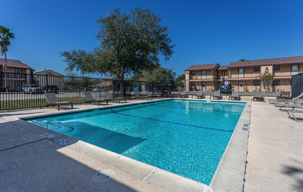 Sparking Swimming Pool at Seaport Village Apartments in Galveston Island, TX
