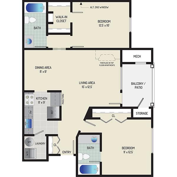 Seneca Club Apartments - Floorplan - 2 BR + 2 BA Roommate Style