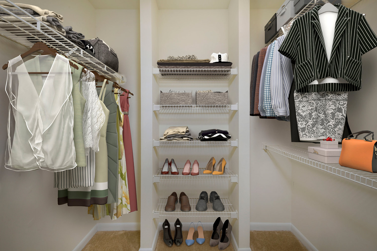 Spacious walk-in closets available at Seneca Club Apartments in Germantown, MD
