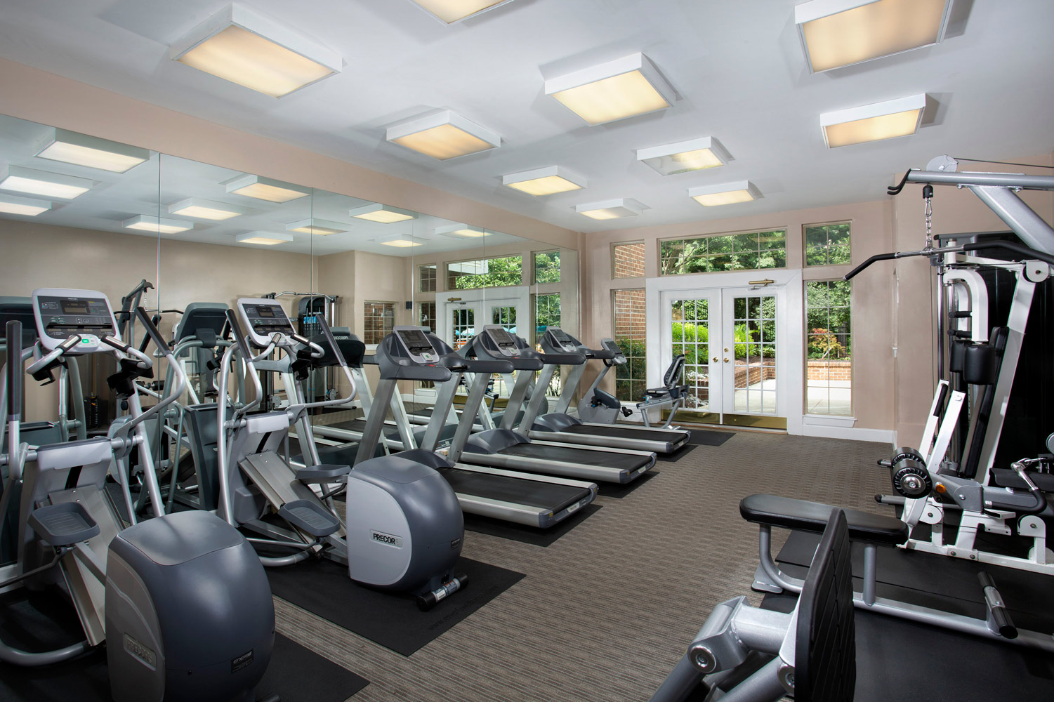 Fully-equipped fitness center at Seneca Club Apartments in Germantown, MD