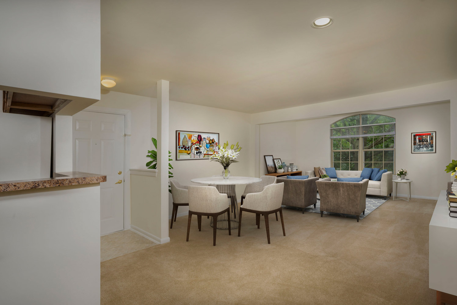 Spacious living and dining area at Seneca Club Apartments in Germantown, MD