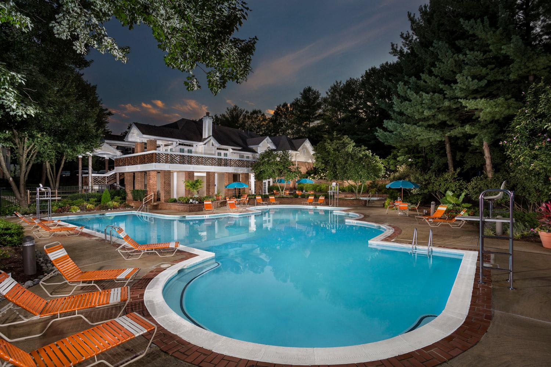 Relaxing swimming pool at Seneca Club Apartments in Germantown, MD